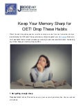 Keep Your Memory Sharp for OET! Drop These Habits