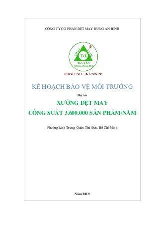Kế hoạch bảo vệ môi trường Dự án xưởng dệt may tai TPHCM 0903034381