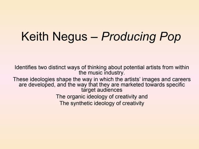 Keith negus – producing pop