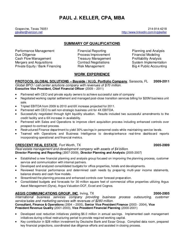 Keller Paul J Resume