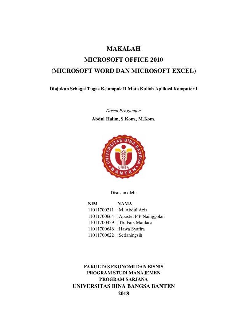 Microsft Office 2010 Word Dan Excel Aplikasi Komputer Makalah