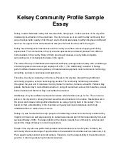 kelsey community profile sample essay