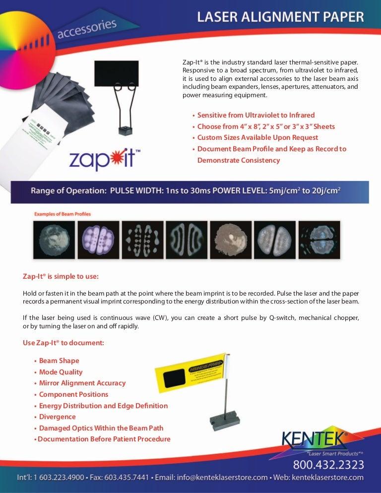 Zap It 174 Laser Alignment Paper