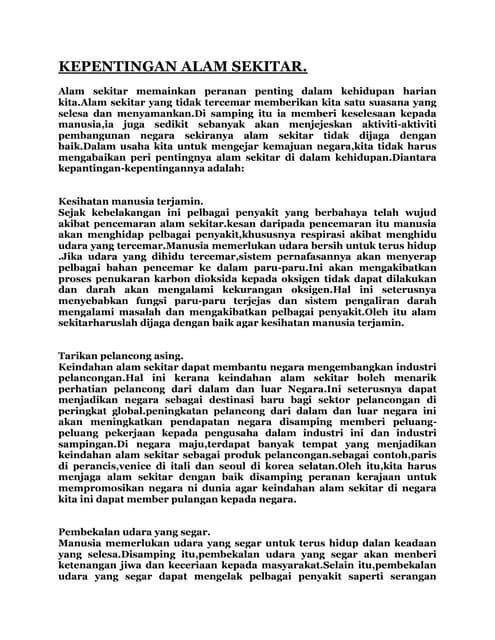 Panduan Membuat Karangan Kepentingan Melestarikan Alam Sekitar 3 M4