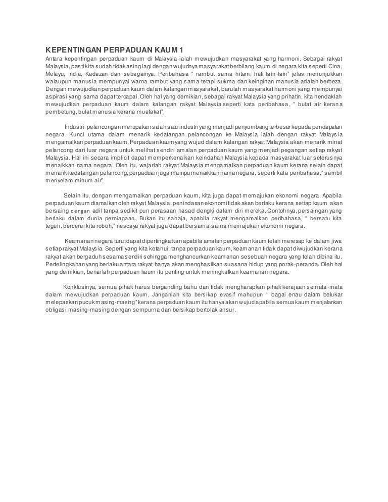 Keren Kepentingan Perpaduan Kaum Di Malaysia Karangan Erlie Decor