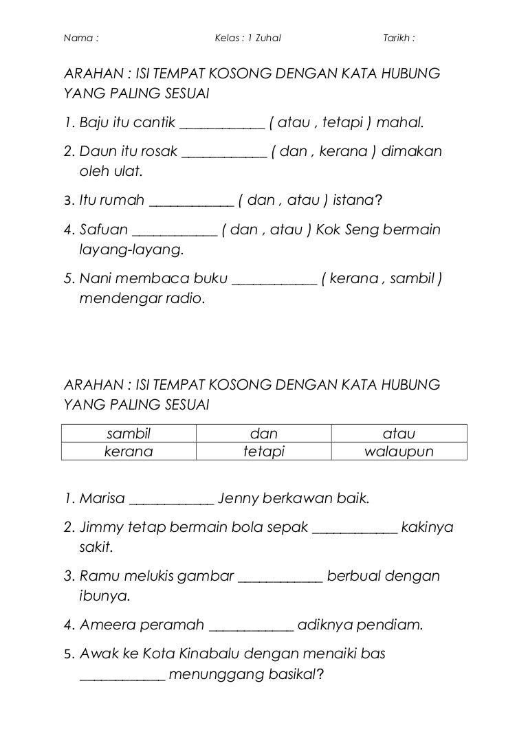 Latihan Pengayaan Bahasa Malaysia Tahun 1