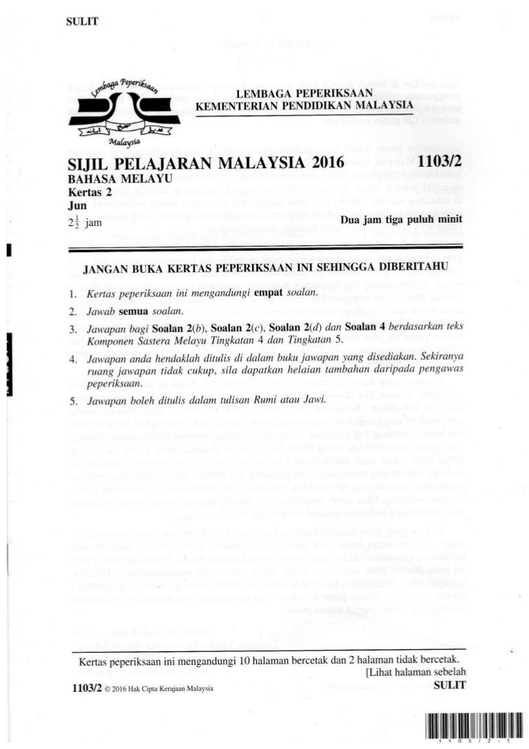 Contoh Soalan Peperiksaan Bahasa Melayu Spm Kertas 2