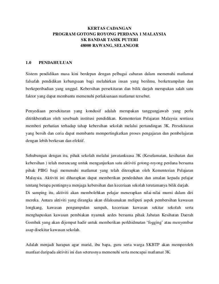 Kertas Cadangan Ruzina Gotong Royong Perdana Skbtp