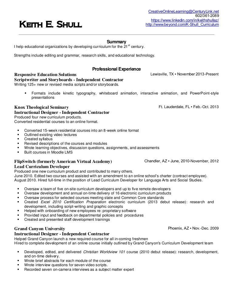 keith shullinstructional designer resume