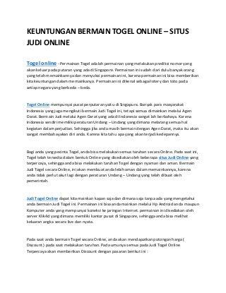 Keuntungan bermain togel online situs judi online