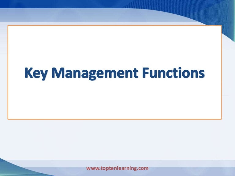 4 key functions of management