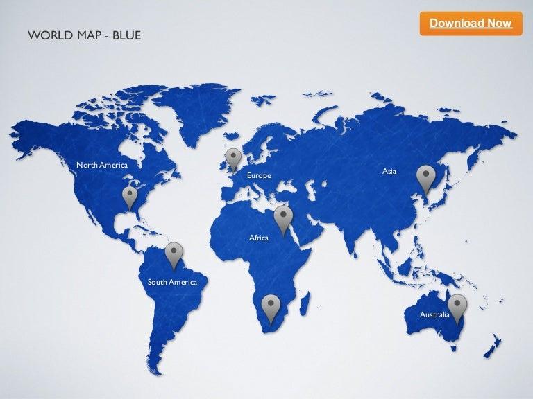 Keynote template World Map Blue