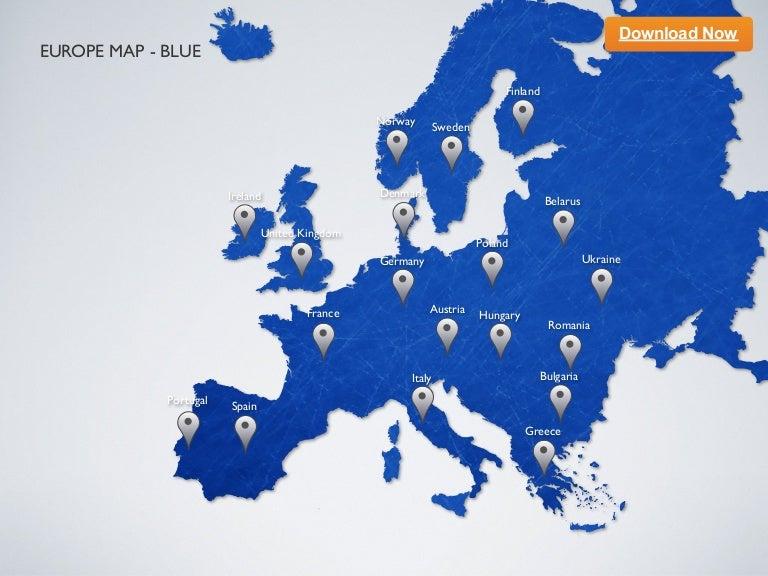 keynote template europe map blue