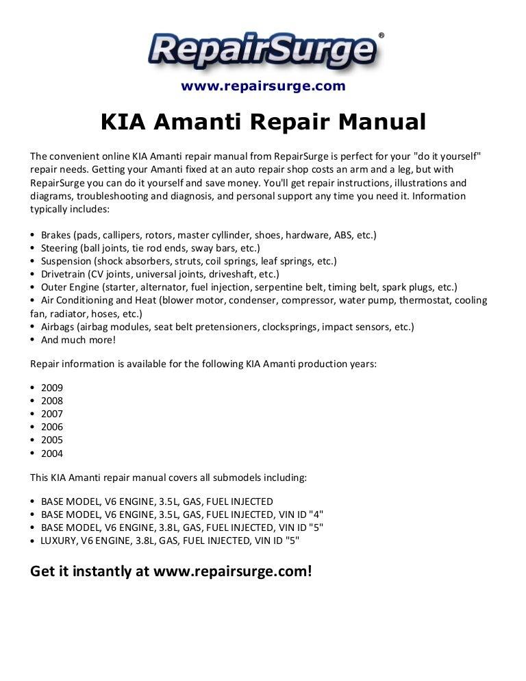 kia amanti repair manual 2004 2009  slideshare