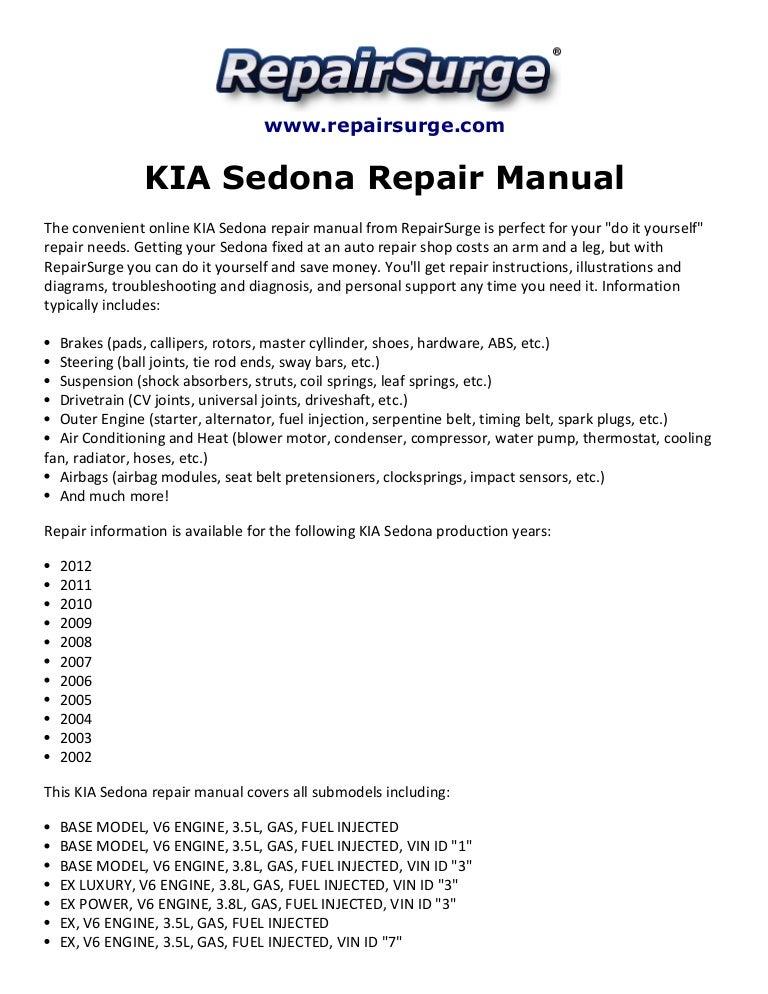 Kia sedona repair manual 2002 2012