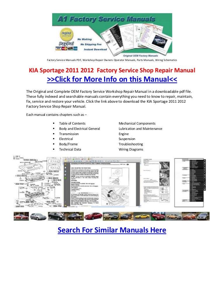 Service & Repair Manuals KIA SPORTAGE 2011-2013 WORKSHOP SERVICE ...