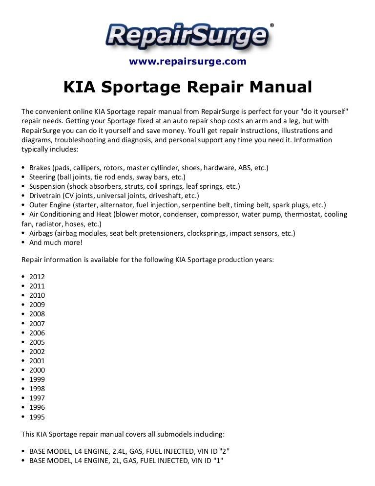 kia sportage repair manual 1995 2012 rh slideshare net 2002 Chevy Venture Van 2002 chevrolet venture repair manual pdf