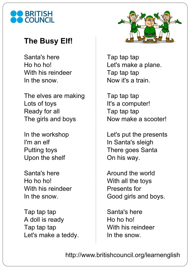kids songs busy elf lyrics1 - British Christmas Songs