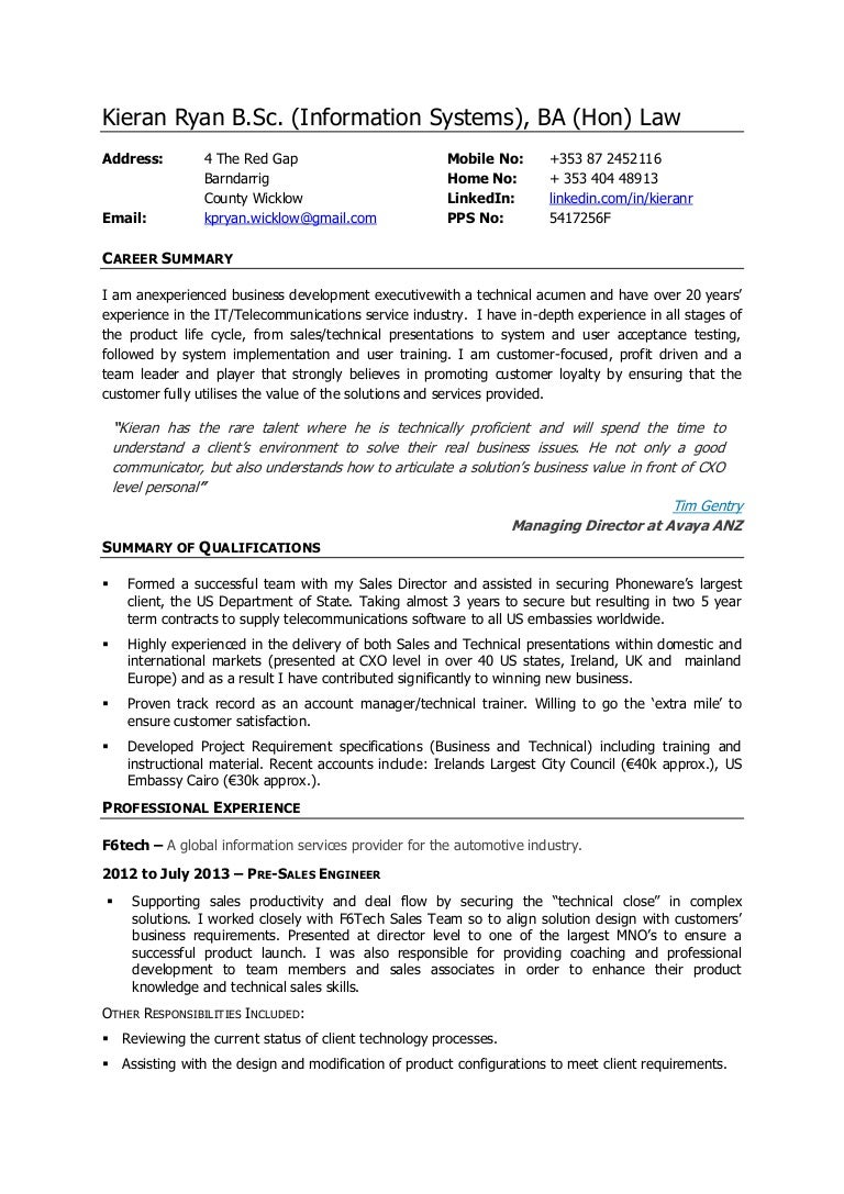 Kieran ryan cv business development executive pre sales engineer yelopaper Images
