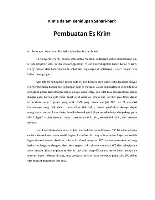 Kimia Terapan - Pembuatan Es Krim