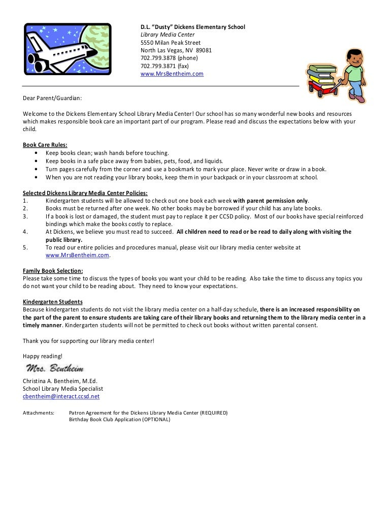 Responsibility Book Letter To Parents