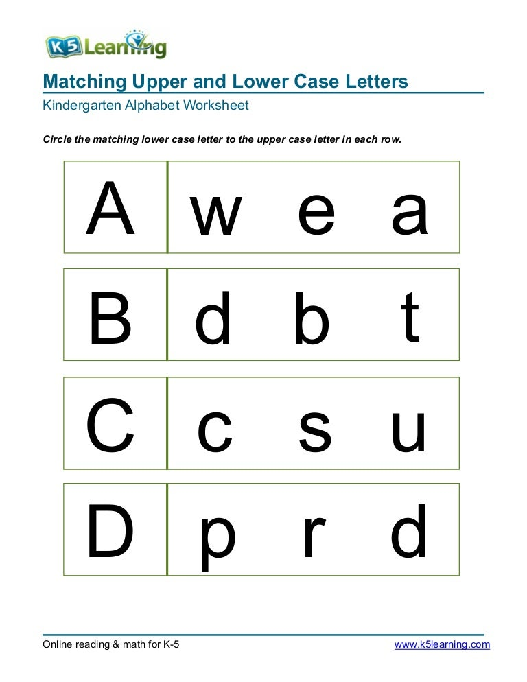 Printable Worksheets free printable alphabet worksheets for kindergarten : Kindergarten matching-letters-a-b-c-d