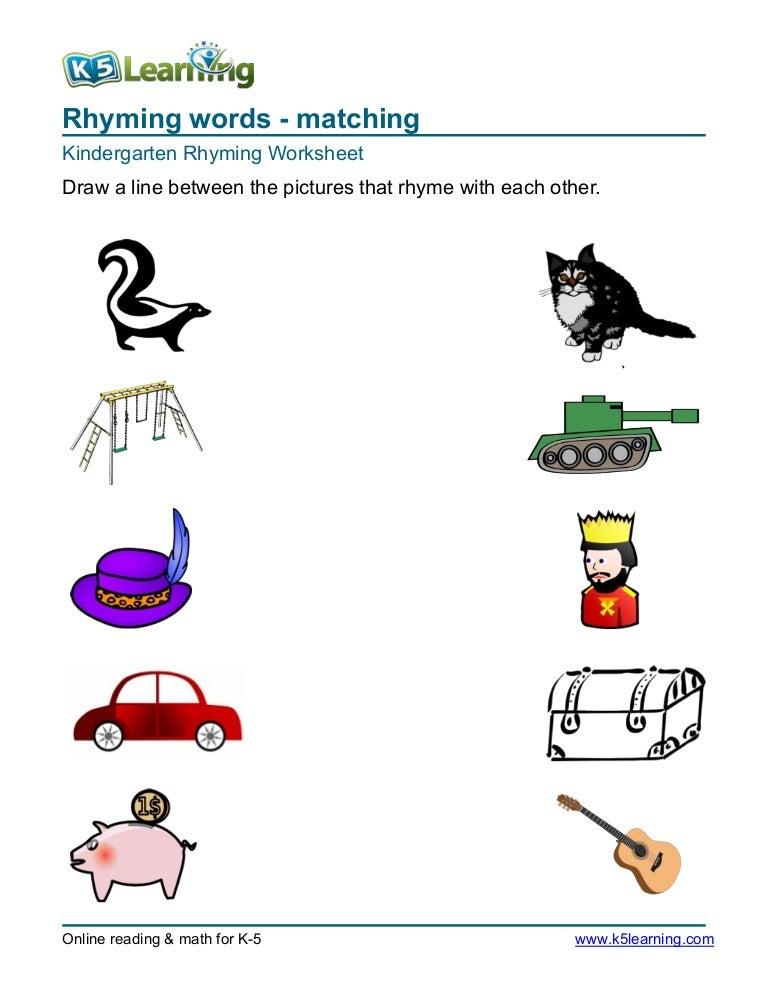 kindergarten rhyming match pictures that rhyme 1 181028184727 thumbnail 4 - List Of Rhyming Words For Kindergarten