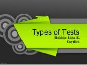 Kinds of tests