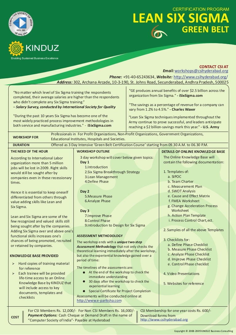 Lean six sigma green belt certification program from computer society 1betcityfo Images