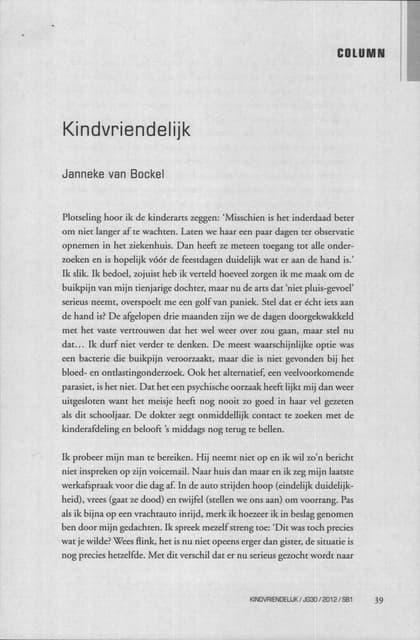 Kindvriendelijk   Column Janneke Van Bockel In Systeemtheoretisch Tijdschrift