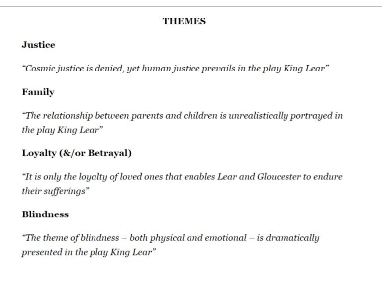 king lear justice vs mercy The theme of justice in king lear is introduced at the very beginning of the play lear himself seems to commit the first act of injustice when he hastily banishes his daughter cordelia and kent while the characters in king lear commit many acts of injustice against each other, an unforgiving.
