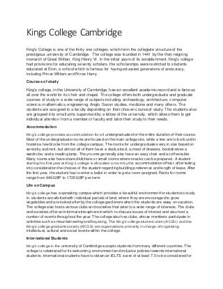 king's college undergraduate courses
