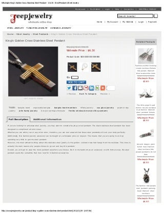 King's golden cross stainless steel pendant