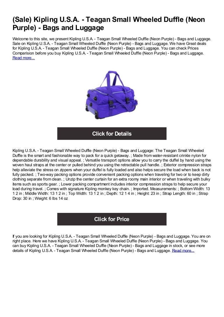 Berenjena al exilio Canadá  Kipling u.s.a. teagan small wheeled duffle (neon purple) - bags and…
