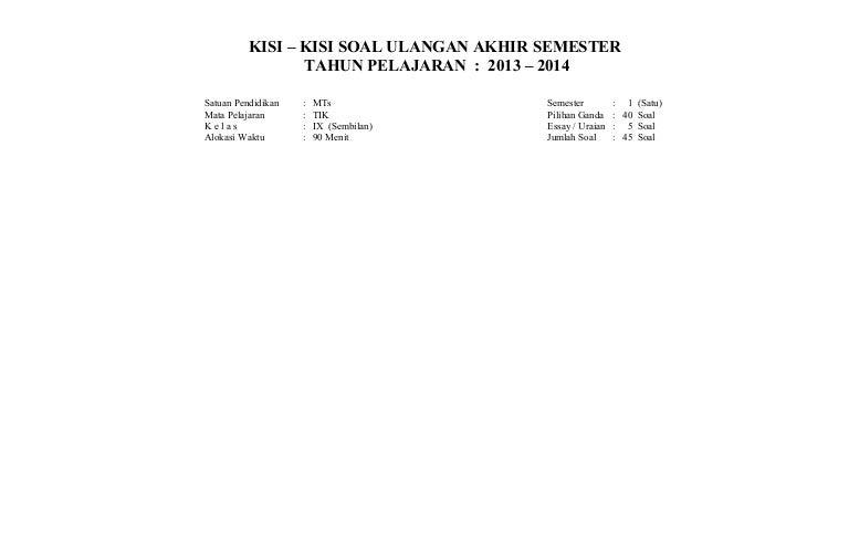Bank Soal Essay Tik Kls Soal uas tik kelas ix semester i