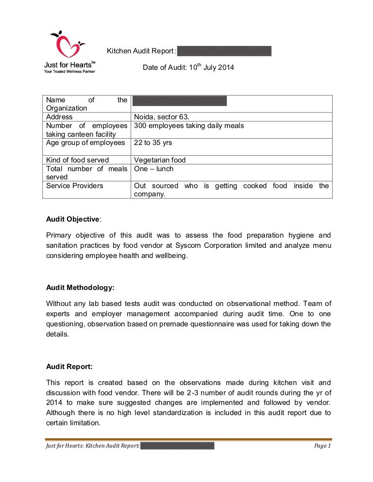 Just For Hearts - Kitchen Audit Report ( Sample Draft )