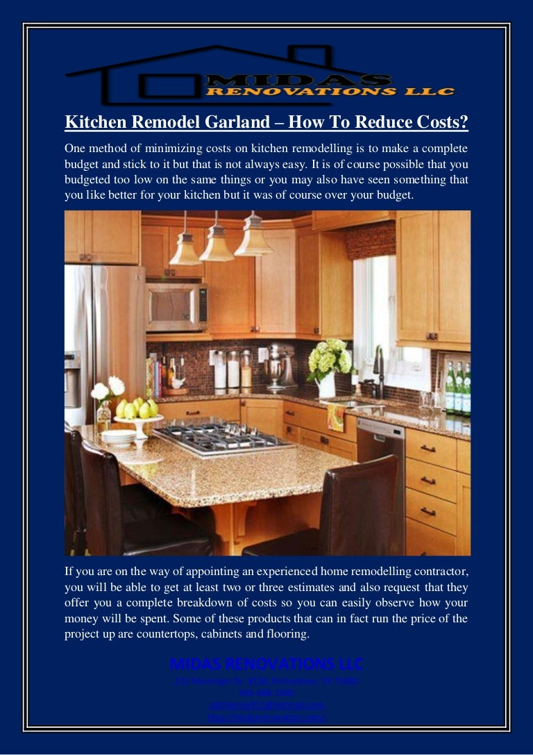 Kitchen Remodel Garland How To Reduce Costs