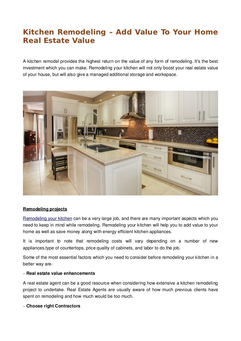 Kitchen remodeling – add value to your home real estate value