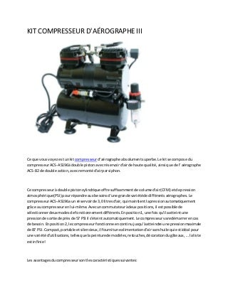 Kit compresseur d'aérographe iii
