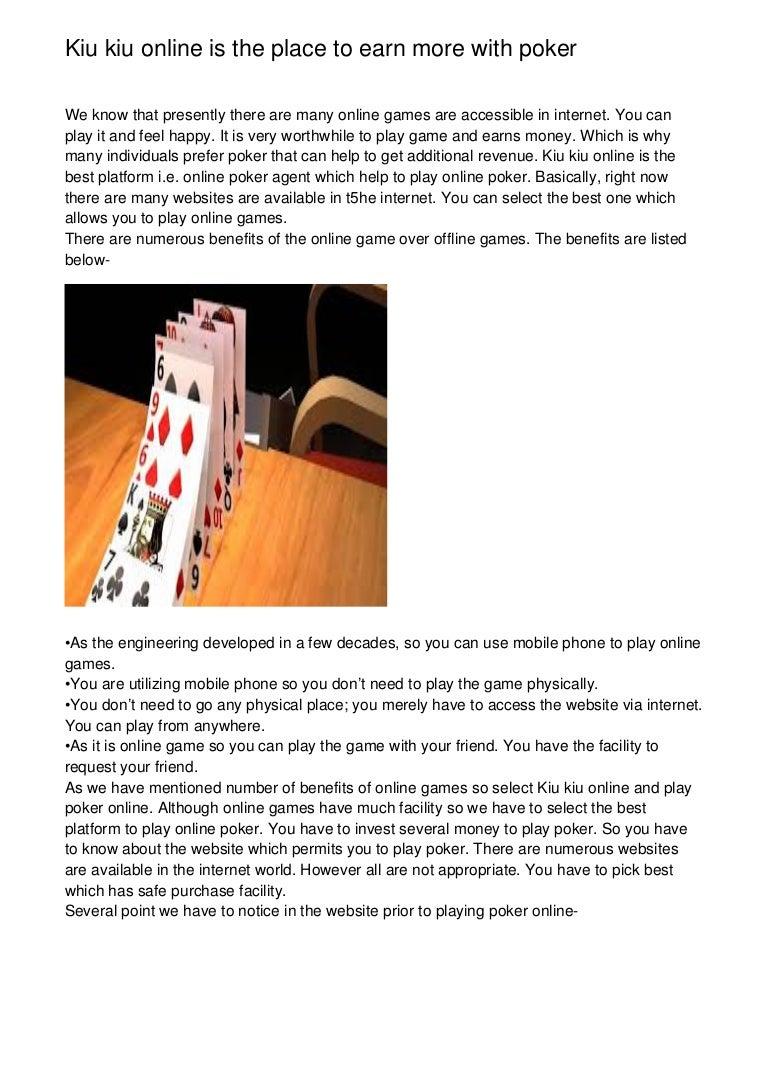 Kiu Kiu Online Is The Place To Earn More With Poker