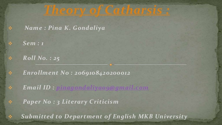 Theory of catharsis