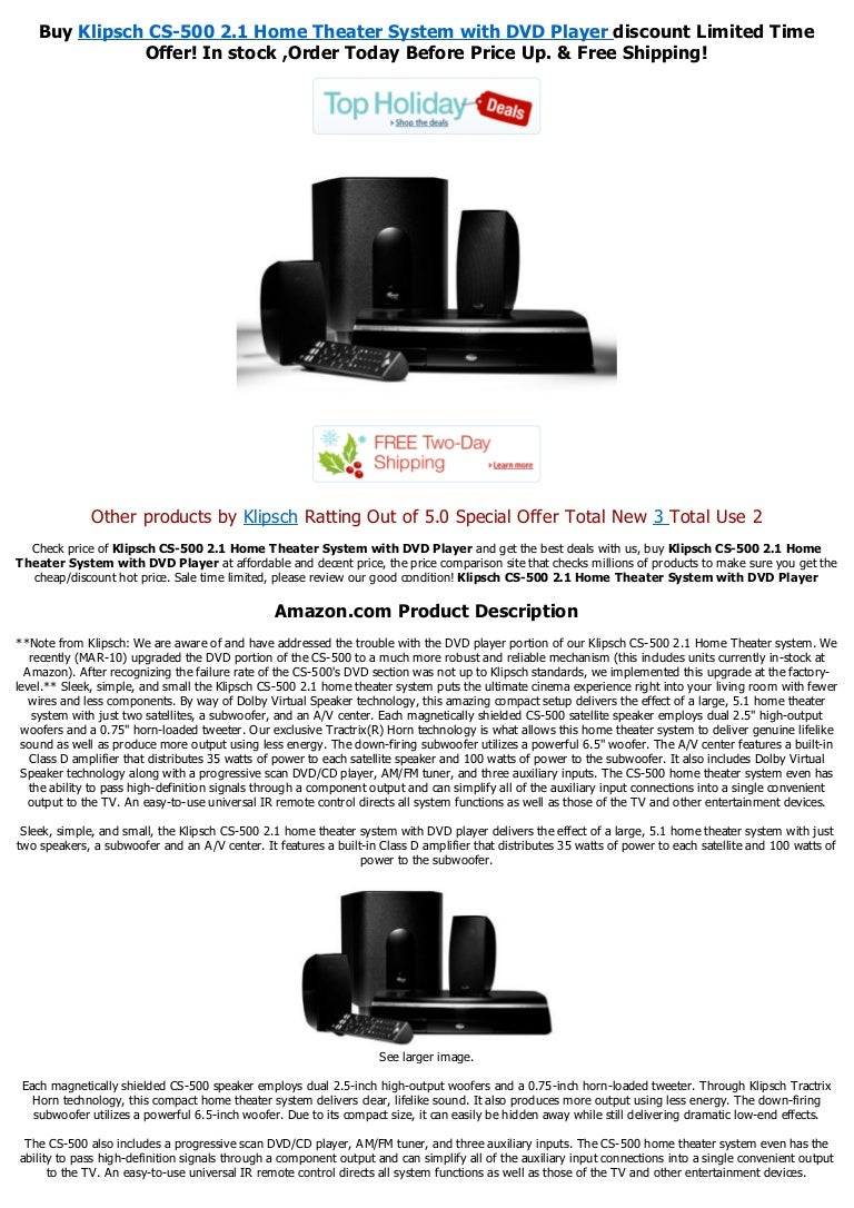 Klipsch Cs 500 21 Home Theater System With Dvd Playerpdf Wiring Diagram Amplifier 5 1
