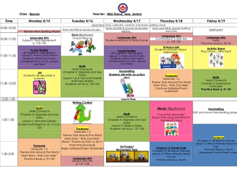 Kindergarten Lesson Plan For April 2013
