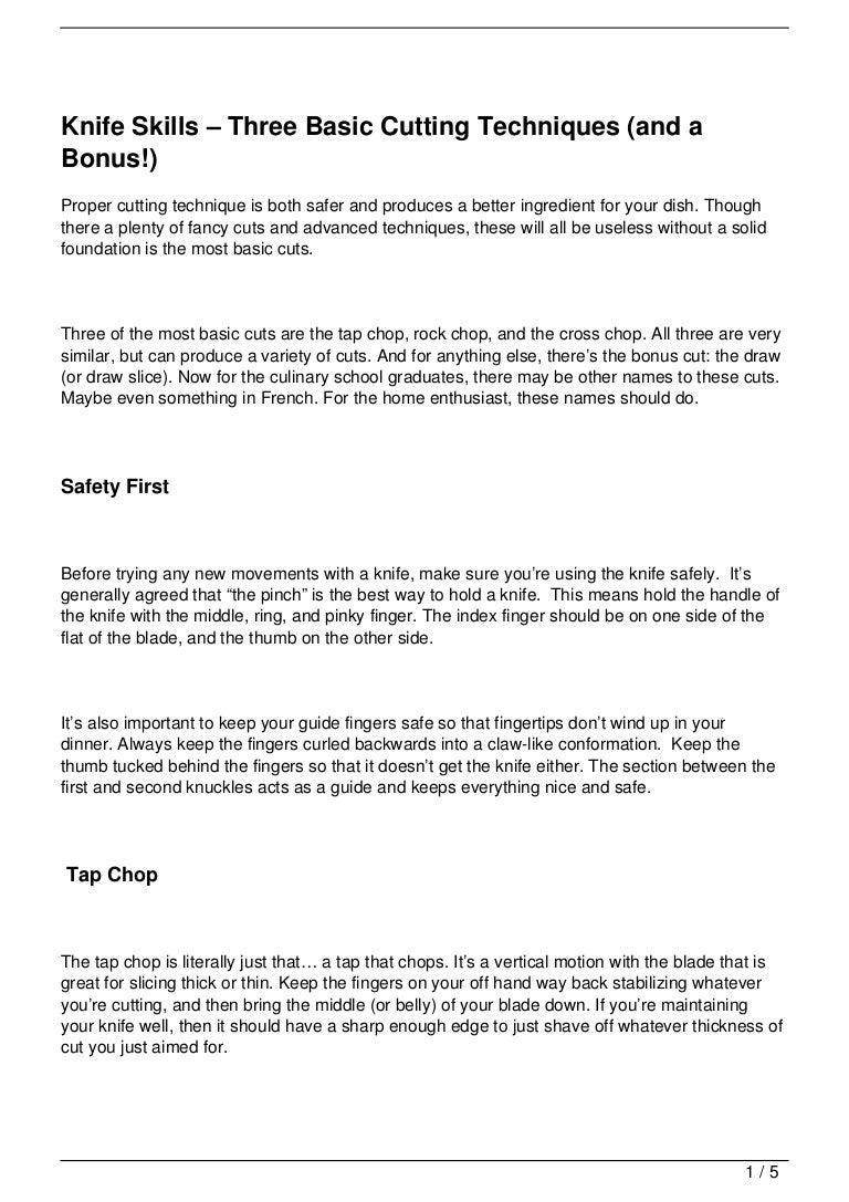 Knife Skills – Three Basic Cutting Techniques (and a Bonus!)