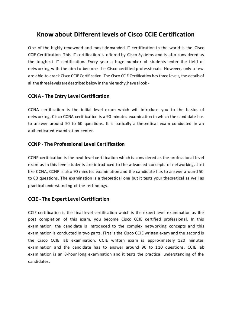 Know About Different Levels Of Cisco Ccie Certification