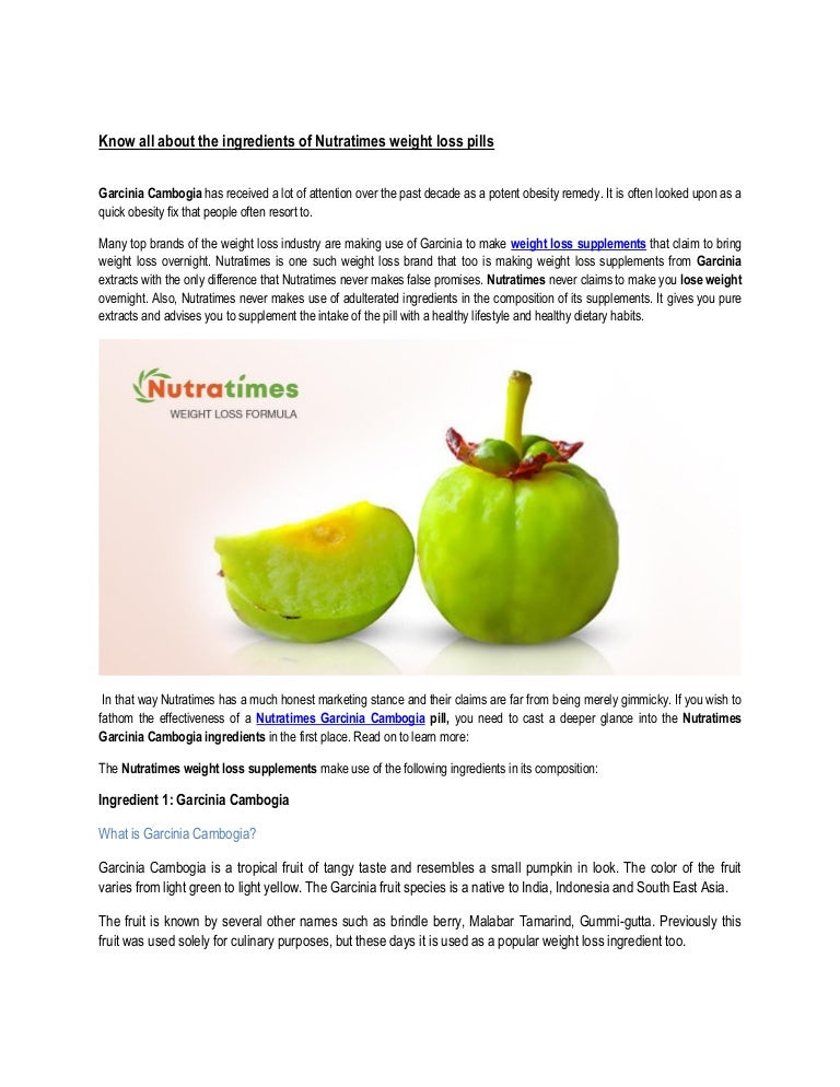 Know All About The Ingredients Of Nutratimes Weight Loss Pills