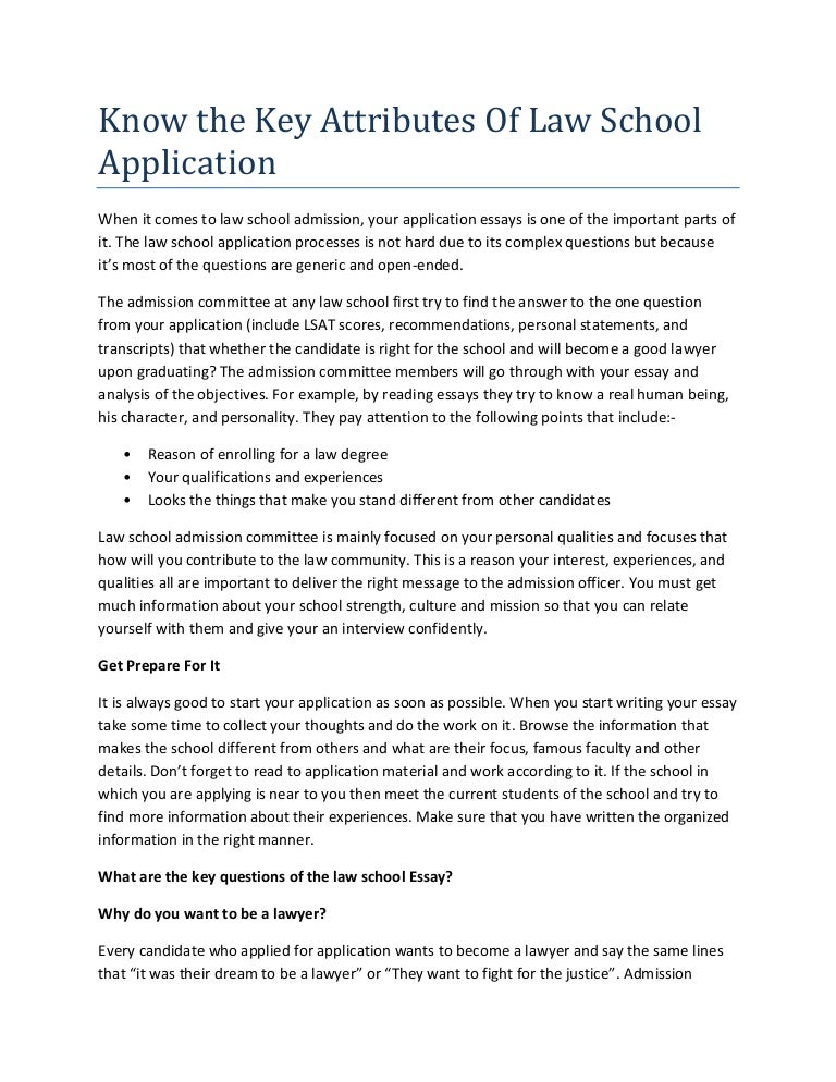 Law School Admissions Essay