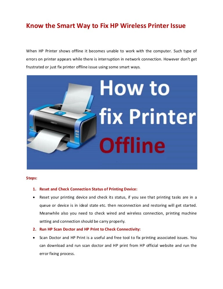 Know the Smart Way to Fix HP Wireless Printer Issue