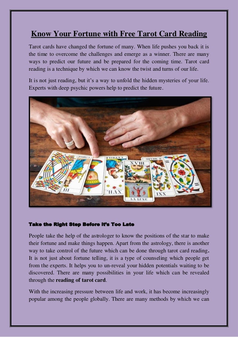 Know Your Fortune with Free Tarot Card Reading
