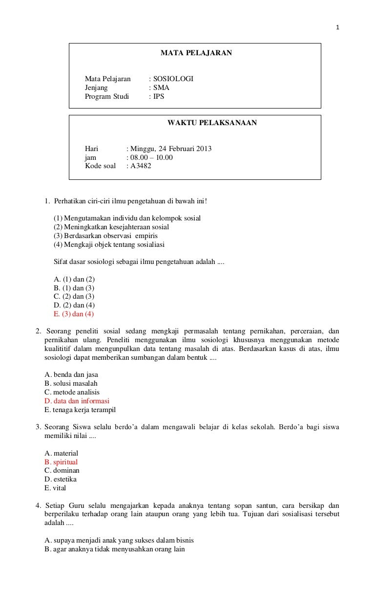Kunci Prediksi Soal Un Sosiologi Kode A Tahun 2013